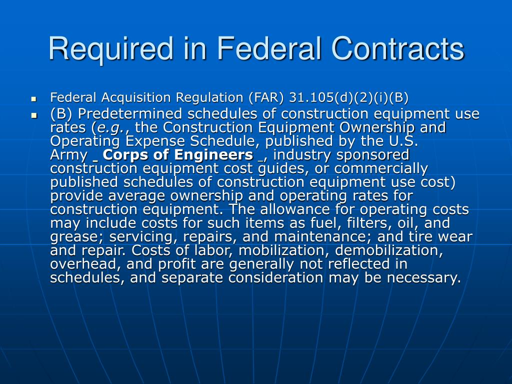 Required in Federal Contracts