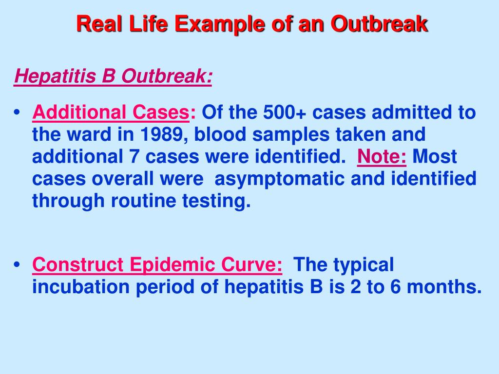 Real Life Example of an Outbreak