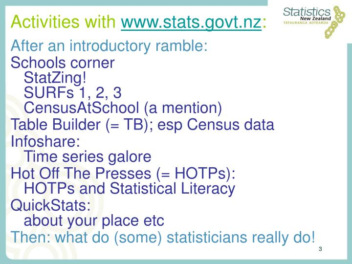 Activities with www stats govt nz