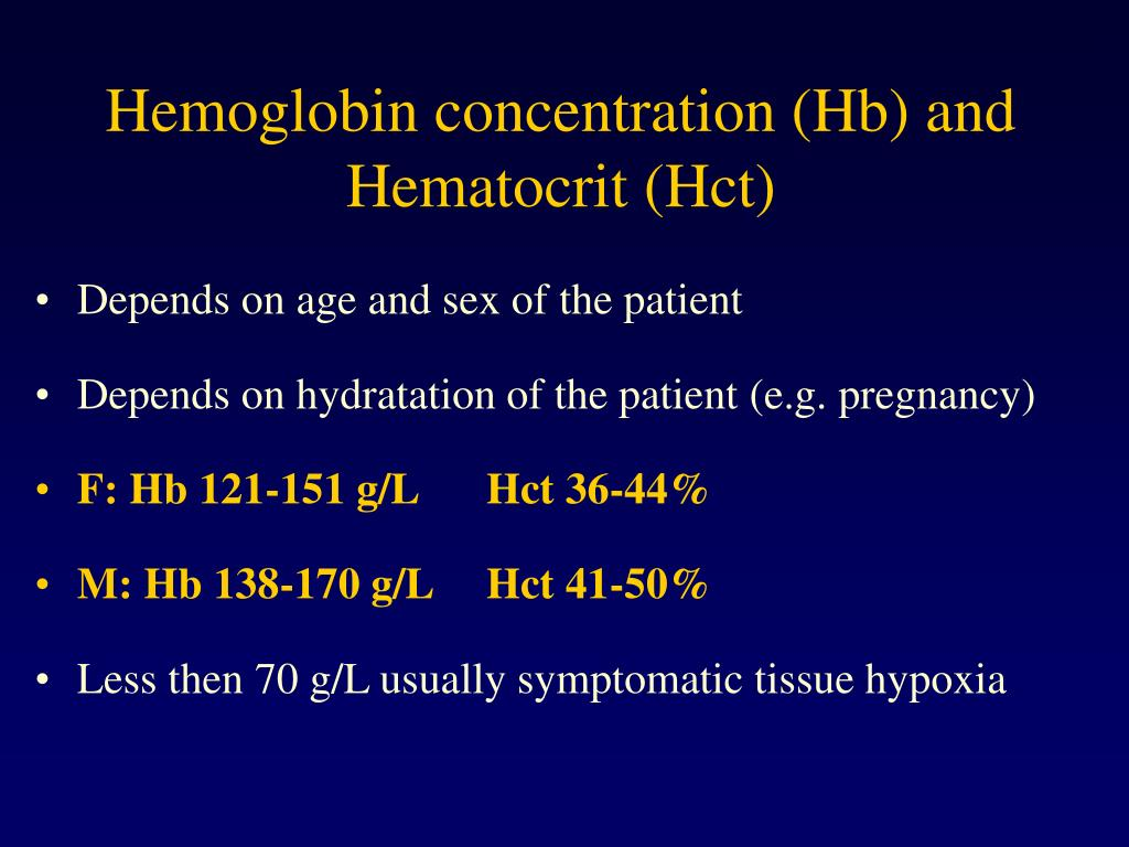 Hemoglobin concentration (Hb) and Hematocrit (Hct)