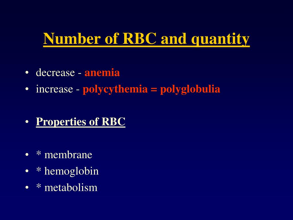 Number of RBC and quantity