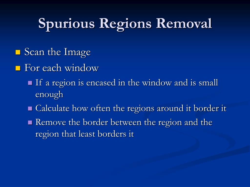 Spurious Regions Removal