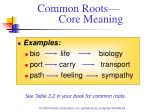 common roots core meaning
