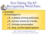 test taking tip 3 recognizing word parts12