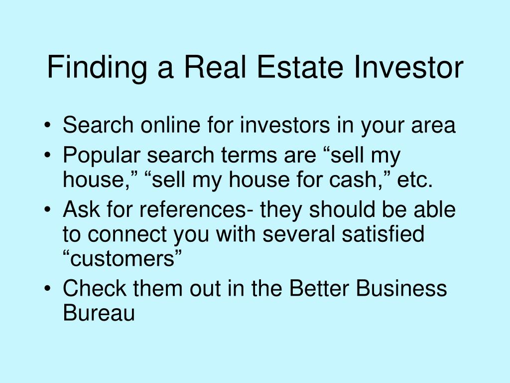 Finding a Real Estate Investor