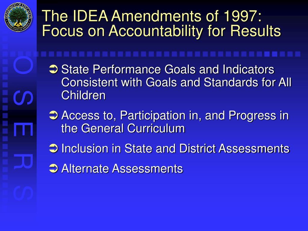 The IDEA Amendments of 1997: