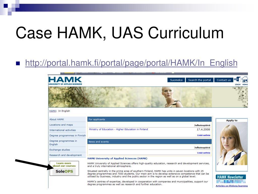 Case HAMK, UAS Curriculum