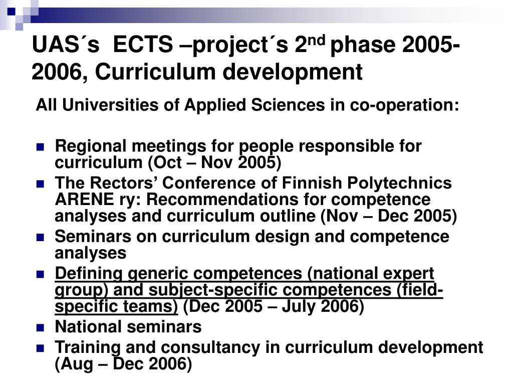 UAS´s  ECTS –project´s 2