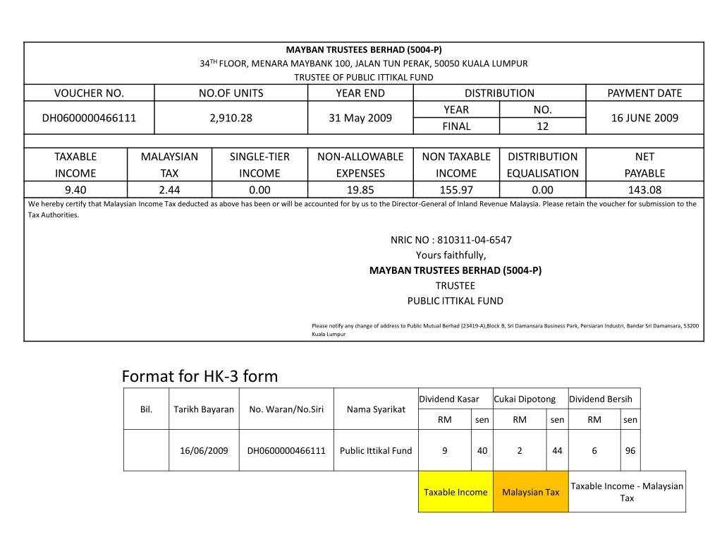 Format for HK-3 form