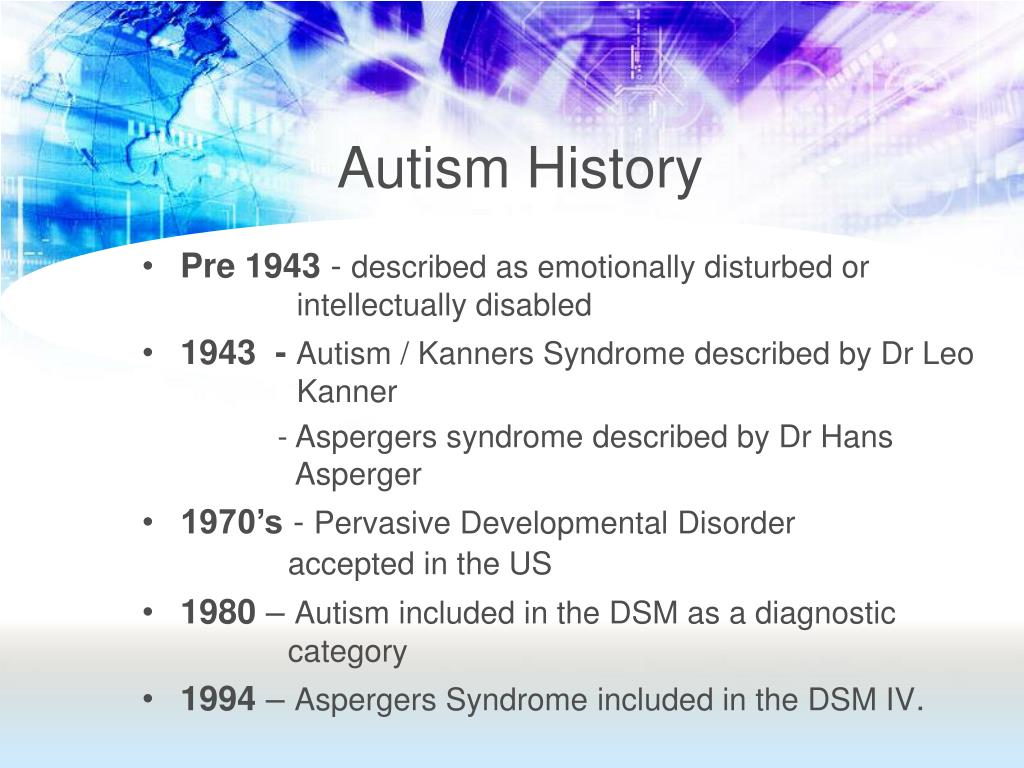 history of autism and aspergers Were examined: cognitive function, current symptomatology and early history   keywords asperger syndrome, autism, external validity, neuropsychological.
