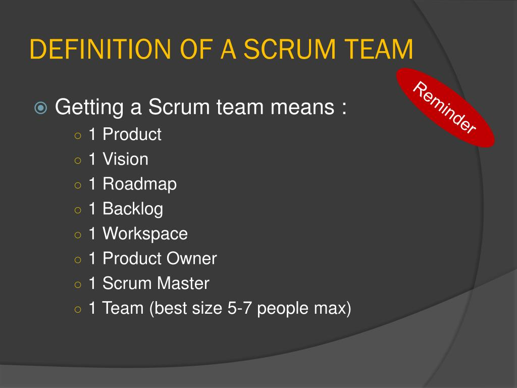 DEFINITION OF A SCRUM TEAM