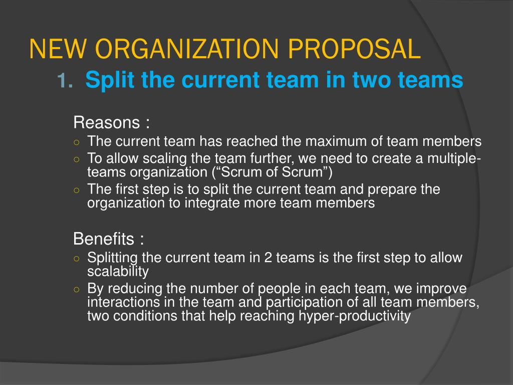 NEW ORGANIZATION PROPOSAL