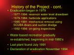 history of the project cont