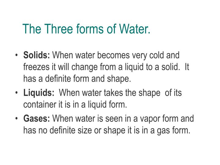 The Three forms of Water.