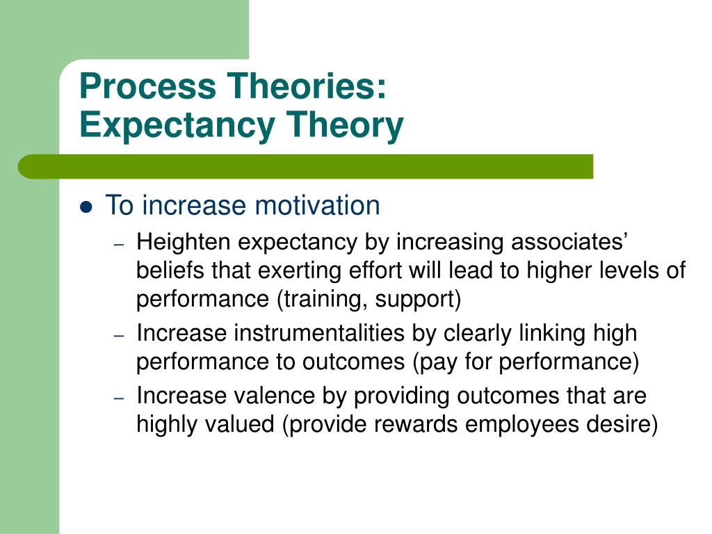 process based motivation theories A process theory is a system of ideas that explains how an entity changes and develops process theories are often contrasted with variance theories , that is, systems of ideas that explain the variance in a dependent variable based on one or more independent variables.