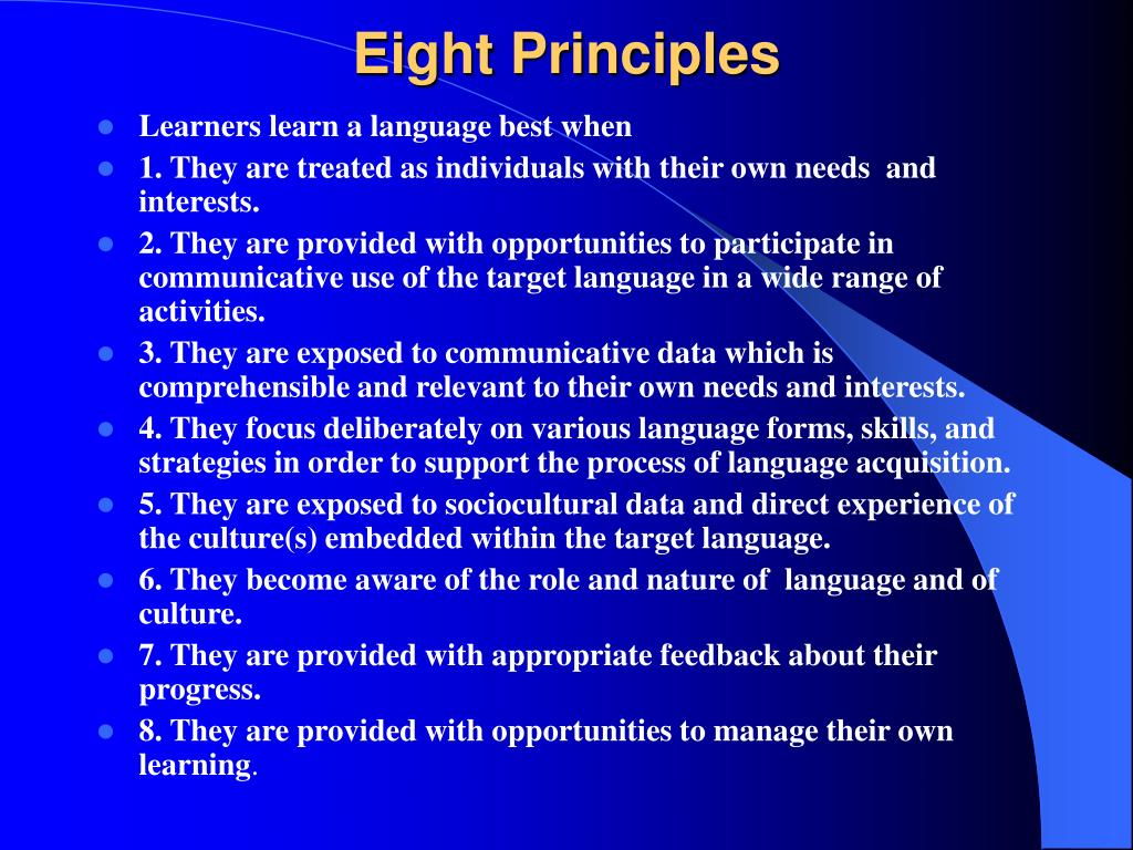 Eight Principles