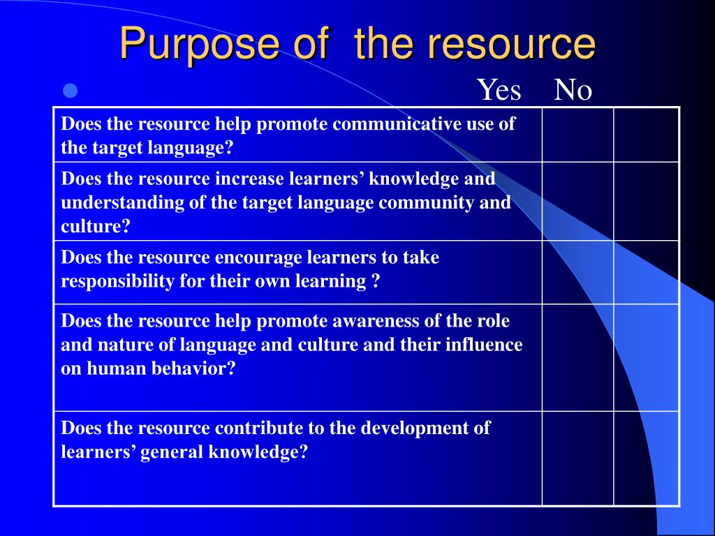 Purpose of  the resource