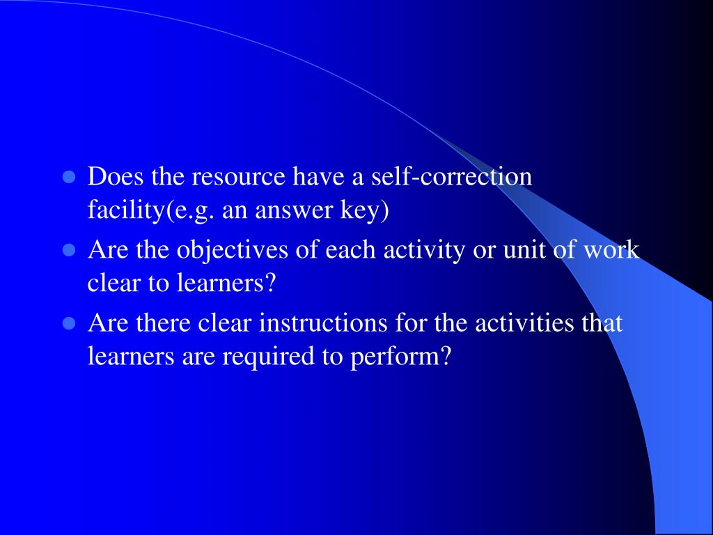 Does the resource have a self-correction facility(e.g. an answer key)