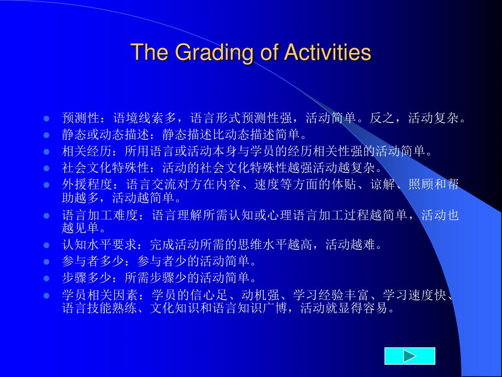 The Grading of Activities