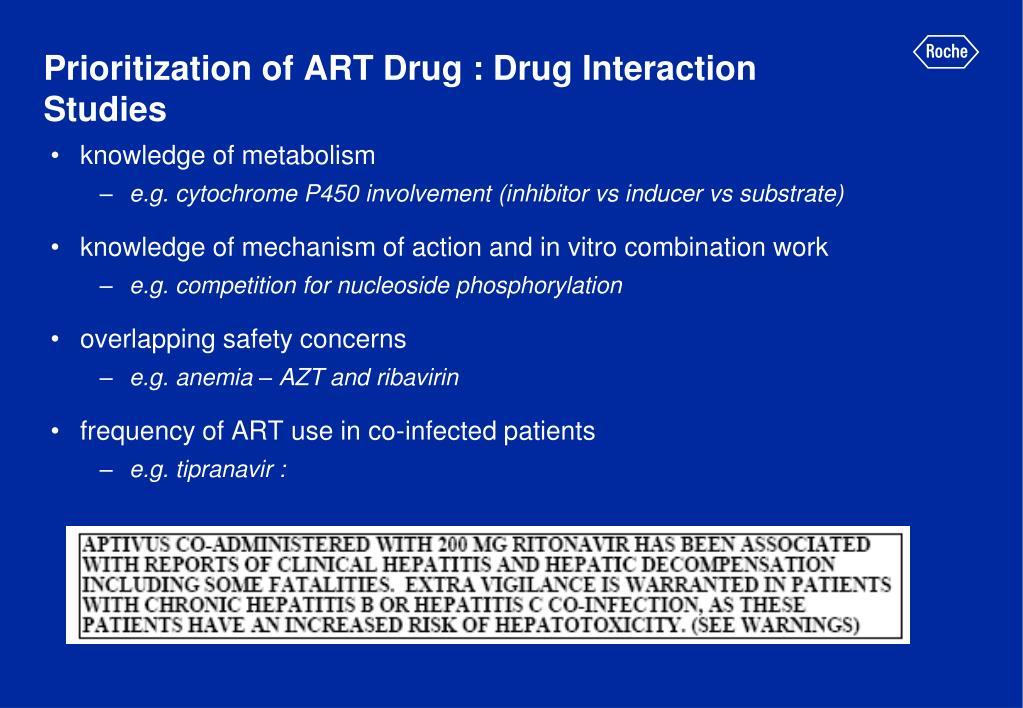 Prioritization of ART Drug : Drug Interaction Studies