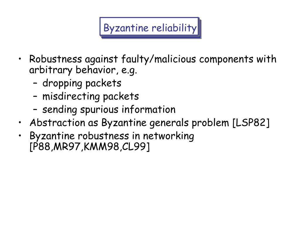 Byzantine reliability