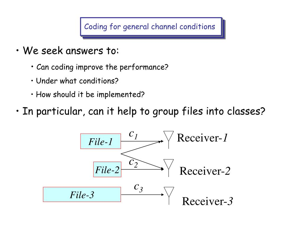 Coding for general channel conditions