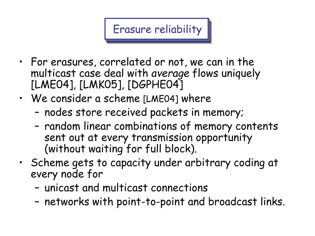 Erasure reliability