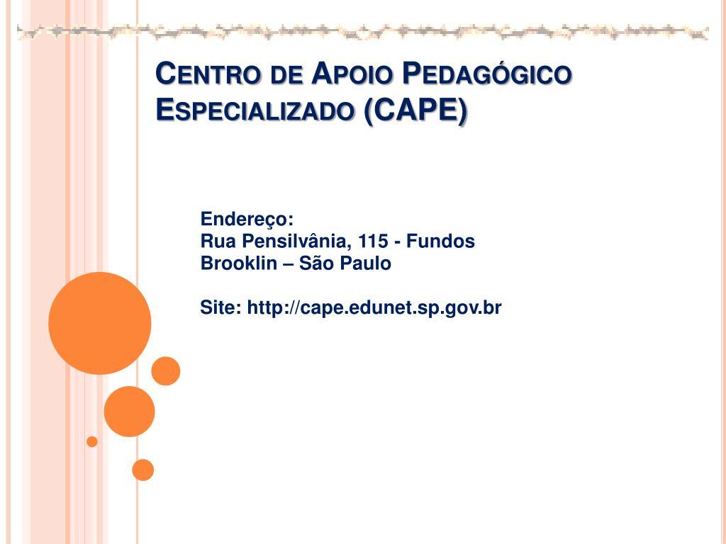 Centro de Apoio Pedagógico Especializado (CAPE)