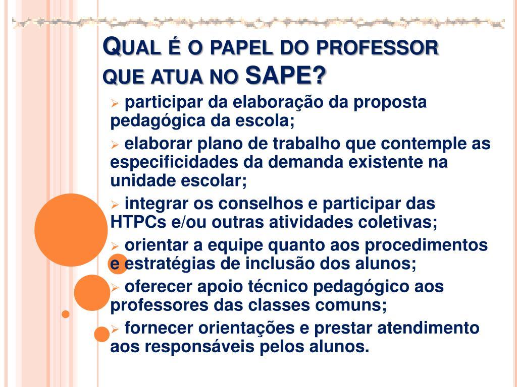 Qual é o papel do professor