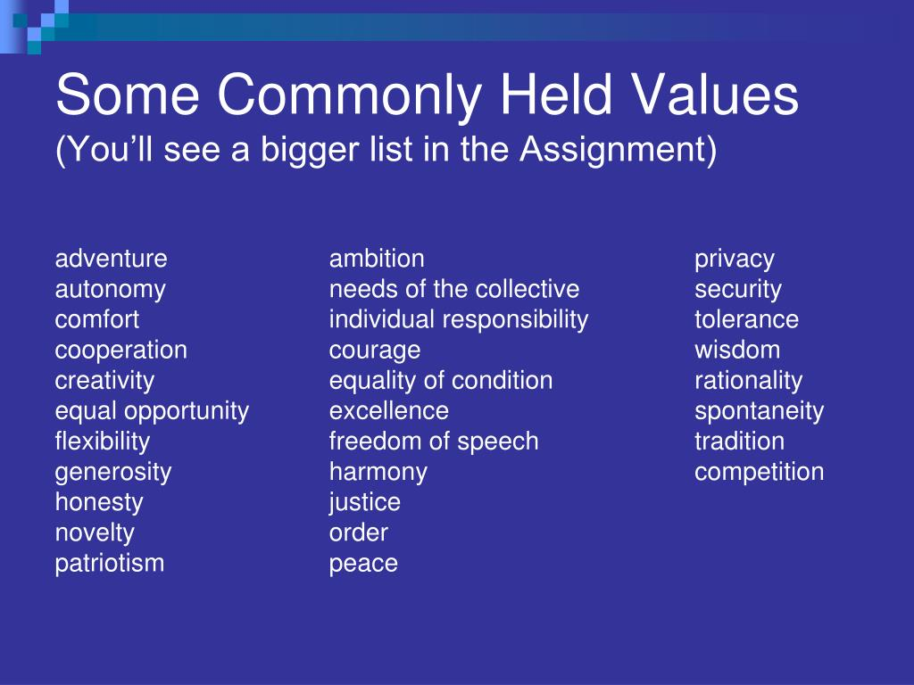 Some Commonly Held Values