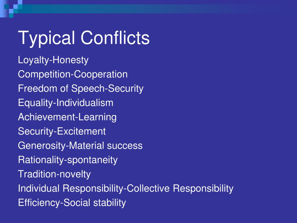 Typical Conflicts
