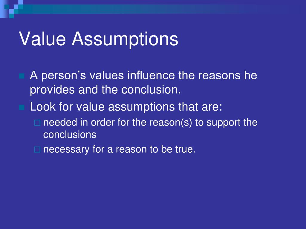 Value Assumptions