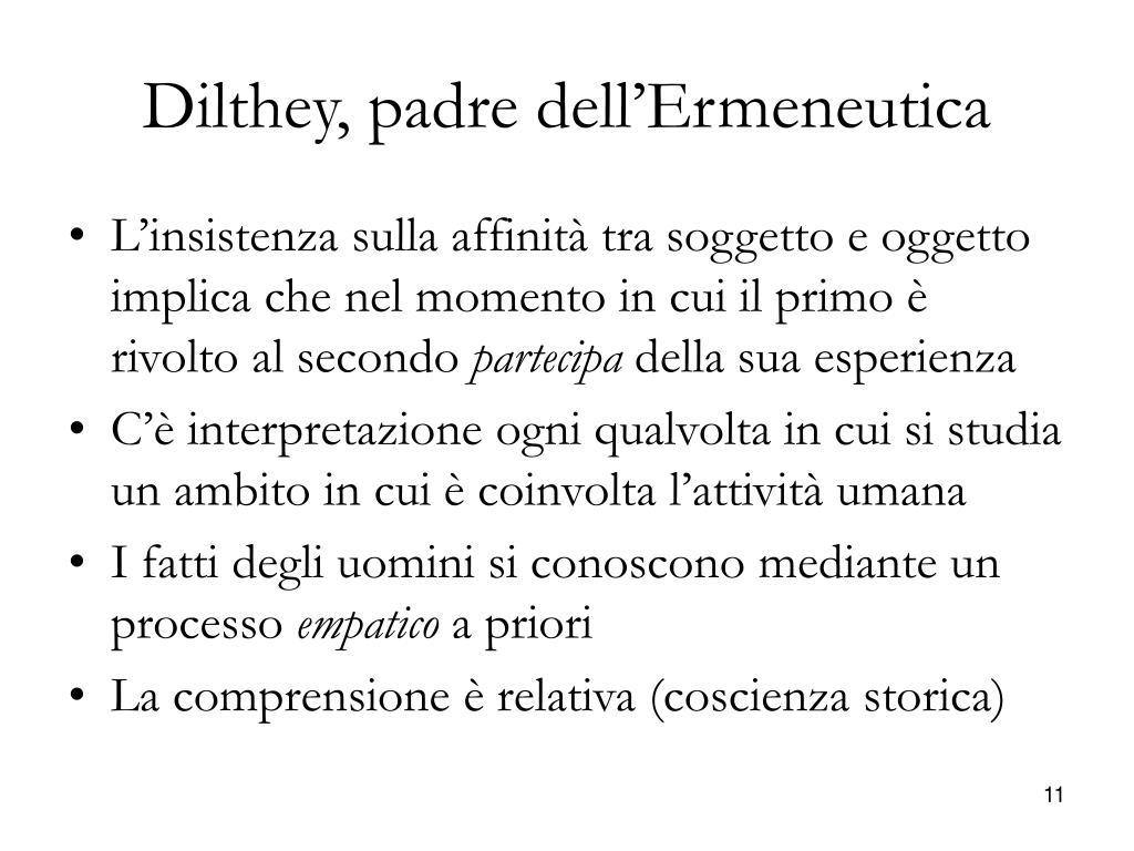 Dilthey, padre dell'Ermeneutica