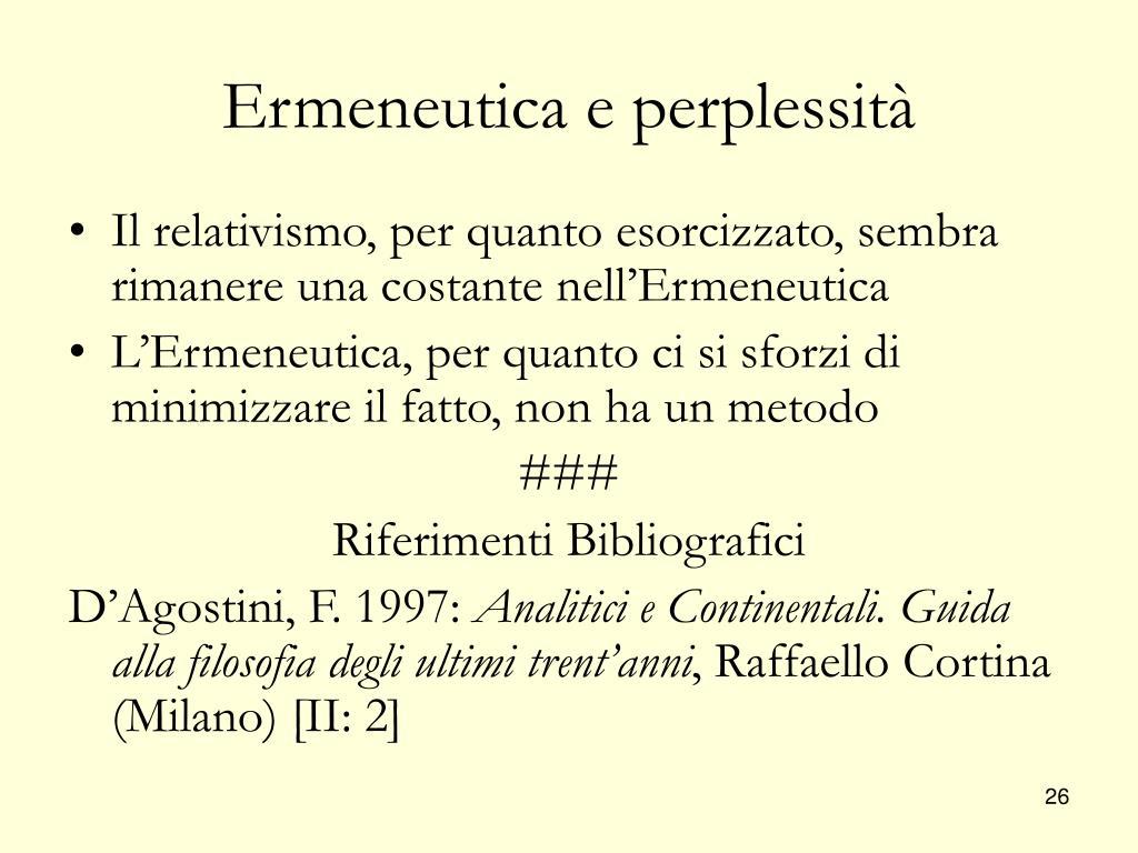 Ermeneutica e perplessità