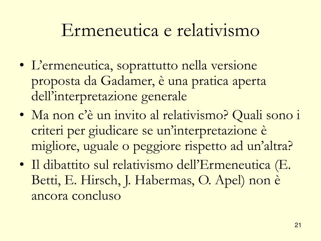 Ermeneutica e relativismo