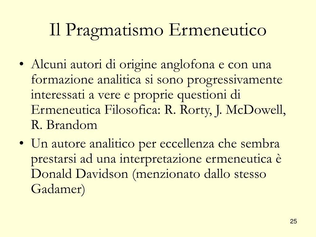 Il Pragmatismo Ermeneutico
