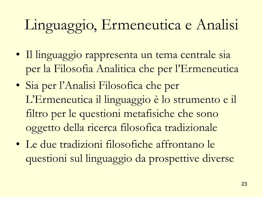 Linguaggio, Ermeneutica e Analisi