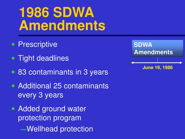 1986 SDWA Amendments