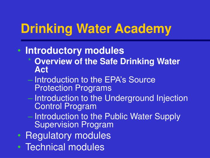 Drinking water academy