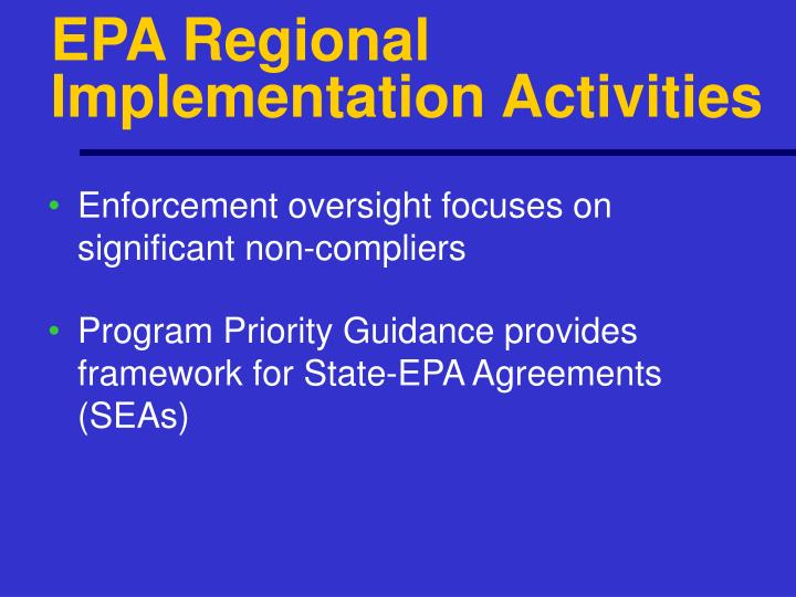 EPA Regional Implementation Activities
