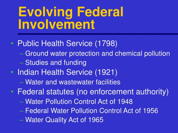 Evolving Federal Involvement