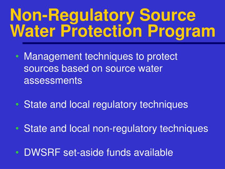 Non-Regulatory Source Water Protection Program