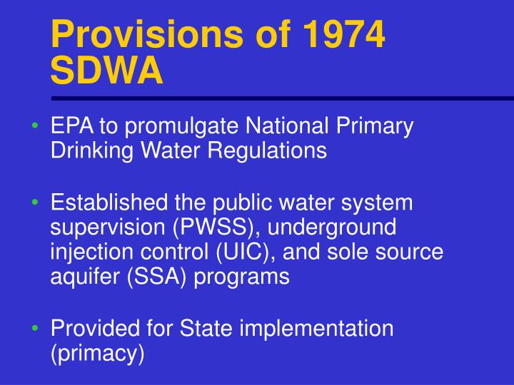 Provisions of 1974 SDWA