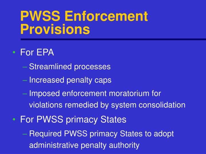 PWSS Enforcement Provisions