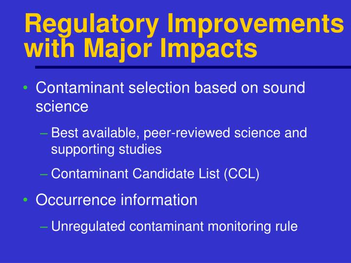 Regulatory Improvements