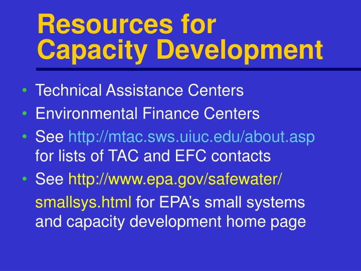 Resources for Capacity Development
