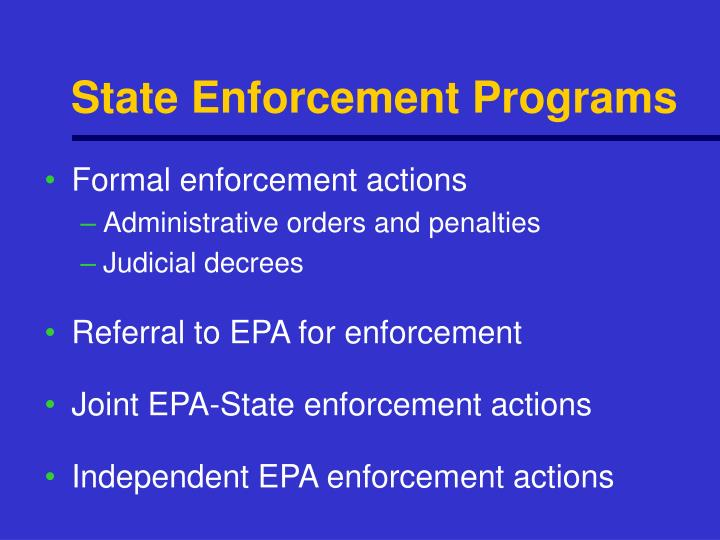 State Enforcement Programs