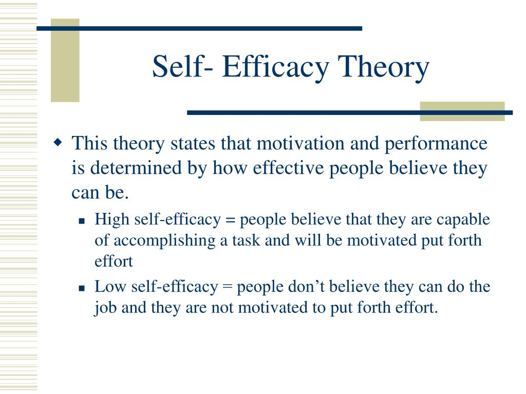Self- Efficacy Theory