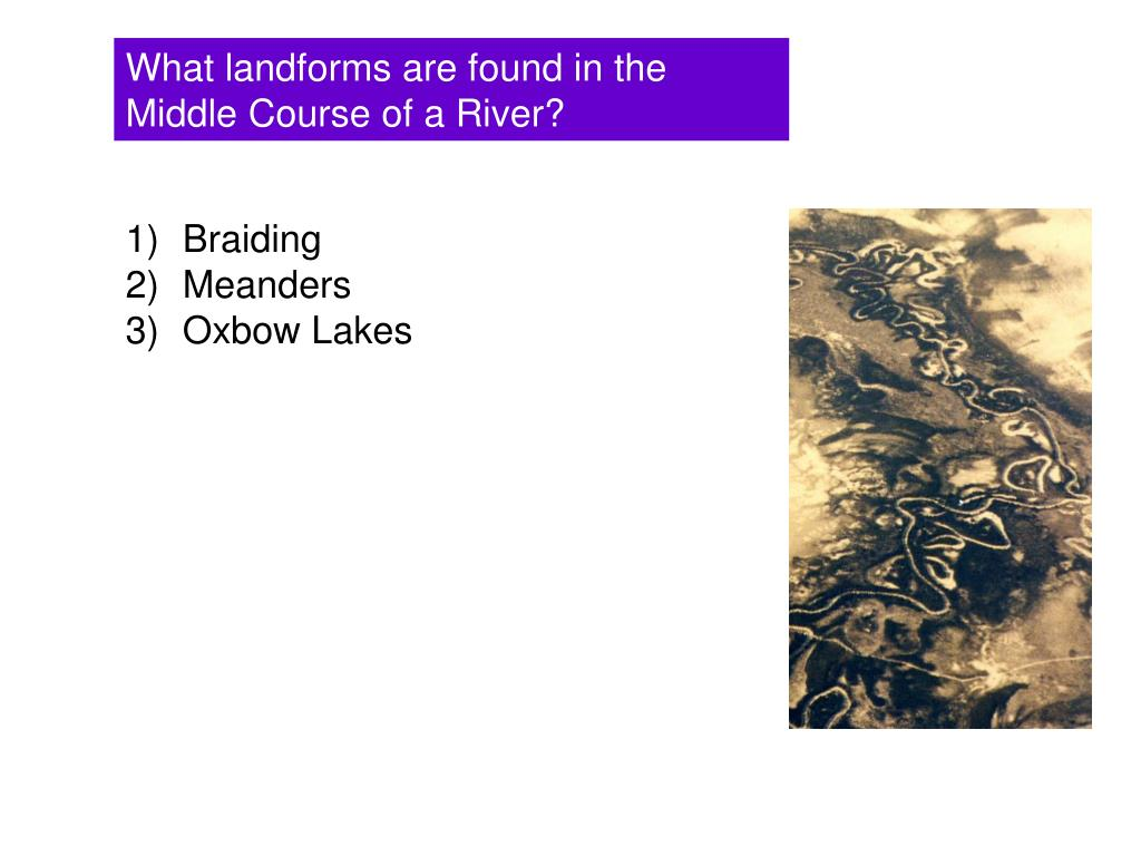 What landforms are found in the Middle Course of a River?
