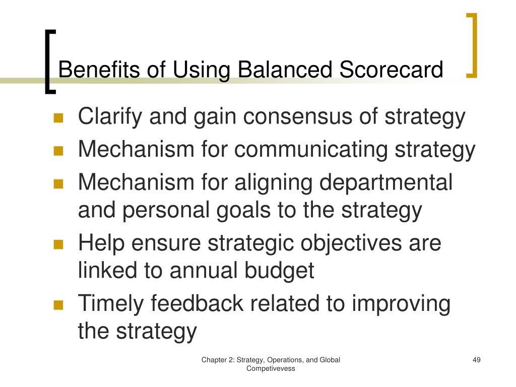 Benefits of Using Balanced Scorecard